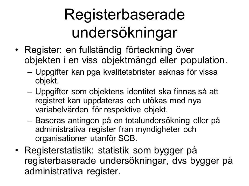 Registerbaserade undersökningar Register: en fullständig förteckning över objekten i en viss objektmängd eller population. –Uppgifter kan pga kvalitet