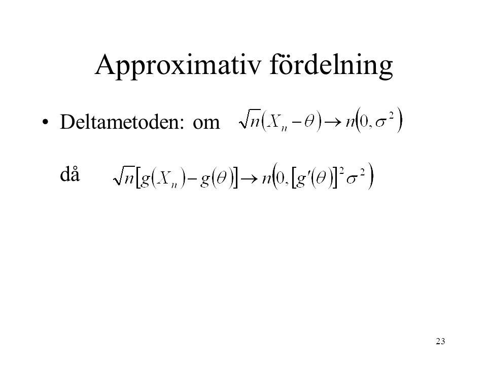 23 Approximativ fördelning Deltametoden: om då
