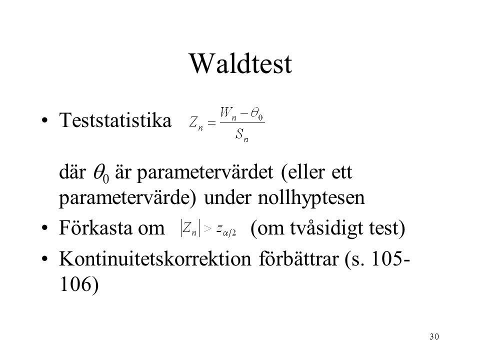 30 Waldtest Teststatistika där  0 är parametervärdet (eller ett parametervärde) under nollhyptesen Förkasta om (om tvåsidigt test) Kontinuitetskorrektion förbättrar (s.