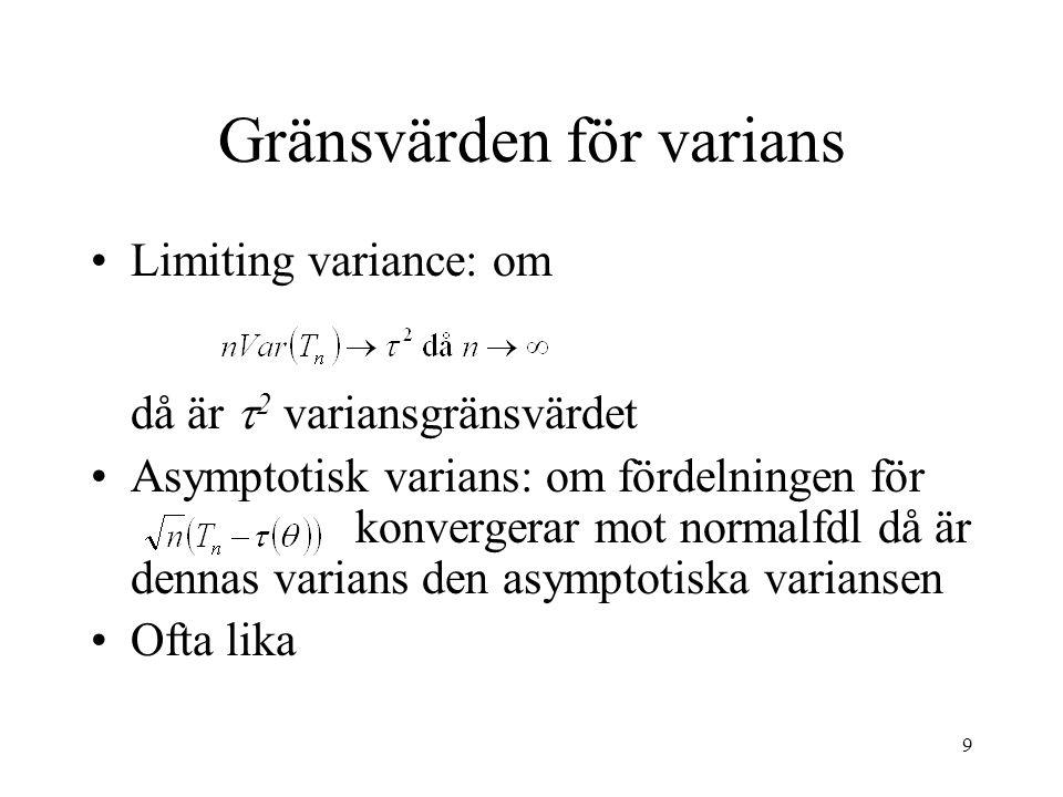 9 Gränsvärden för varians Limiting variance: om då är  2 variansgränsvärdet Asymptotisk varians: om fördelningen för konvergerar mot normalfdl då är dennas varians den asymptotiska variansen Ofta lika