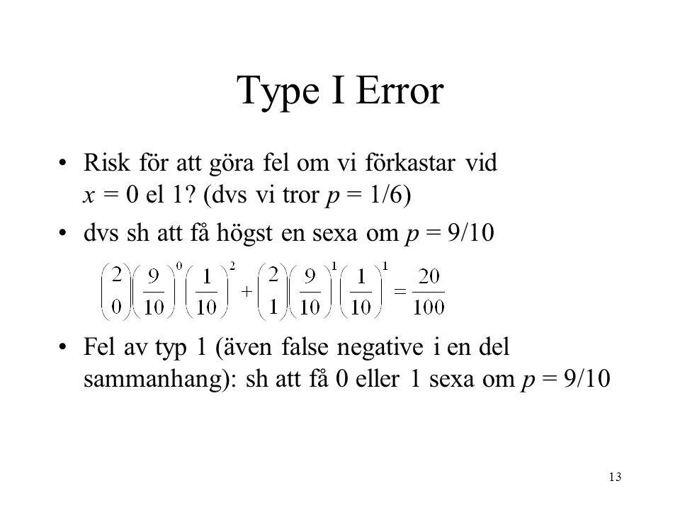 13 Type I Error Risk för att göra fel om vi förkastar vid x = 0 el 1.