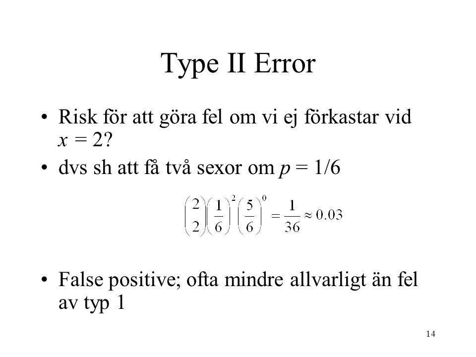 14 Type II Error Risk för att göra fel om vi ej förkastar vid x = 2.