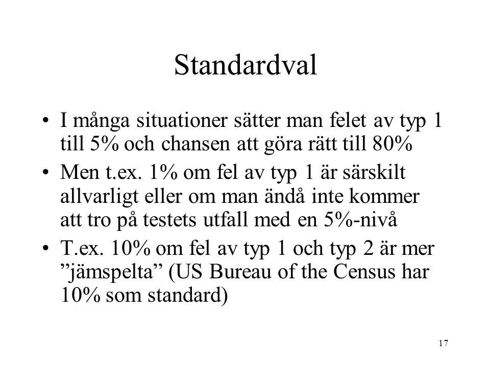 17 Standardval I många situationer sätter man felet av typ 1 till 5% och chansen att göra rätt till 80% Men t.ex.