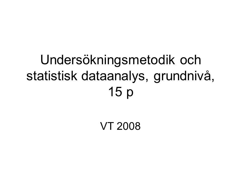 Undersökningsmetodik och statistisk dataanalys, 15 p Föreläsare: Linda Wänström Rum B792 Tel:16 29 71 E-mail: linda.wanstrom@stat.su.se