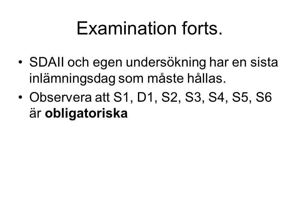 Examination forts. SDAII och egen undersökning har en sista inlämningsdag som måste hållas. Observera att S1, D1, S2, S3, S4, S5, S6 är obligatoriska