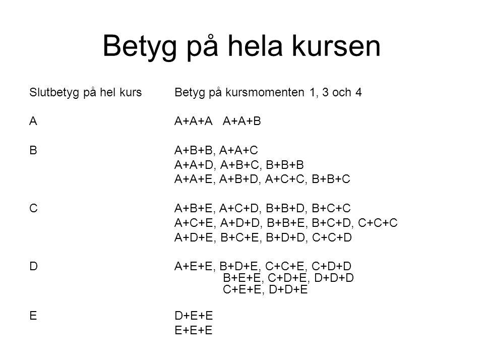 Betyg på hela kursen Slutbetyg på hel kursBetyg på kursmomenten 1, 3 och 4 AA+A+AA+A+B BA+B+B, A+A+C A+A+D, A+B+C, B+B+B A+A+E, A+B+D, A+C+C, B+B+C CA