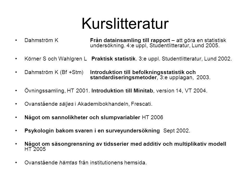 Kurslitteratur Dahmström KFrån datainsamling till rapport – att göra en statistisk undersökning. 4:e uppl, Studentlitteratur, Lund 2005. Körner S och