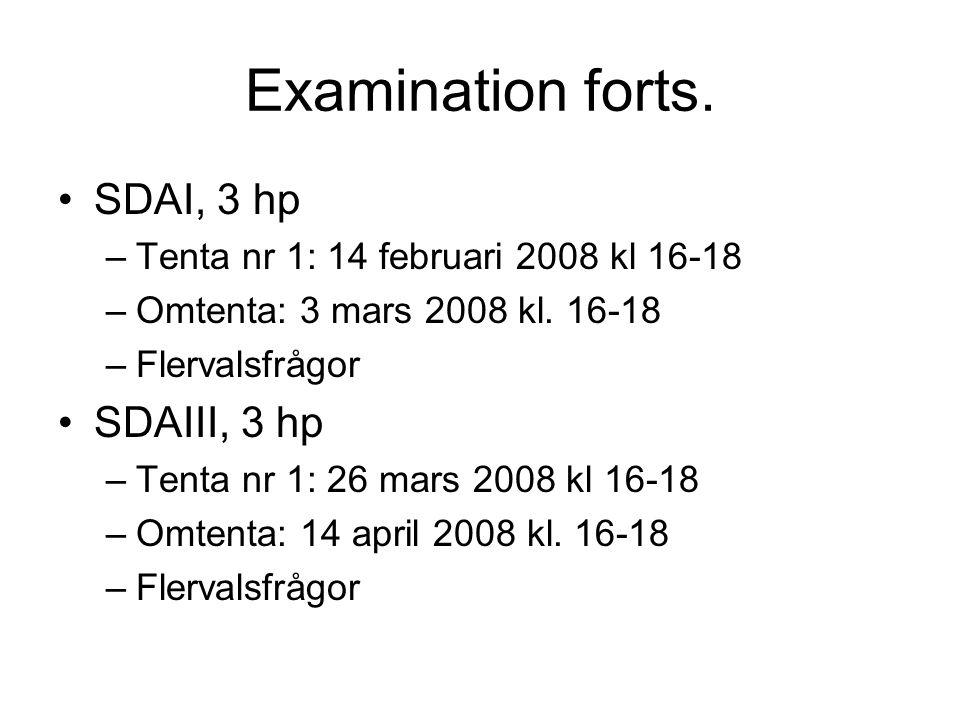 Examination forts. SDAI, 3 hp –Tenta nr 1: 14 februari 2008 kl 16-18 –Omtenta: 3 mars 2008 kl. 16-18 –Flervalsfrågor SDAIII, 3 hp –Tenta nr 1: 26 mars