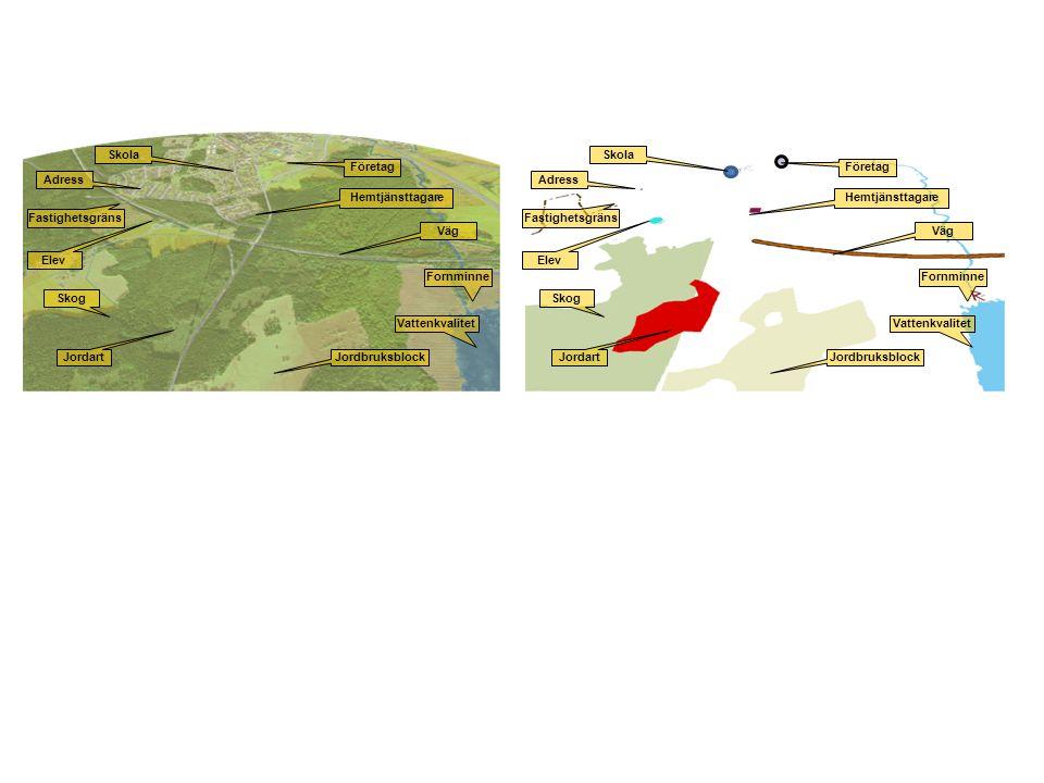 Jordbruksblock Väg Vattenkvalitet Skog Adress Fastighetsgräns Fornminne Elev Skola Företag Hemtjänsttagare Jordart Jordbruksblock Väg Vattenkvalitet S