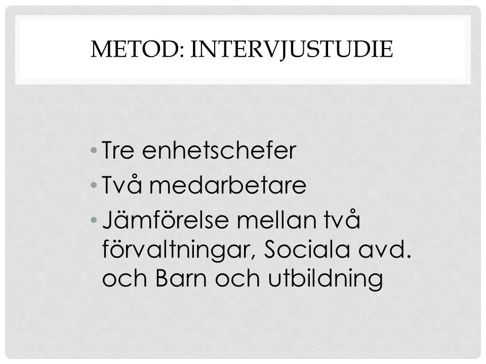METOD: INTERVJUSTUDIE Tre enhetschefer Två medarbetare Jämförelse mellan två förvaltningar, Sociala avd. och Barn och utbildning