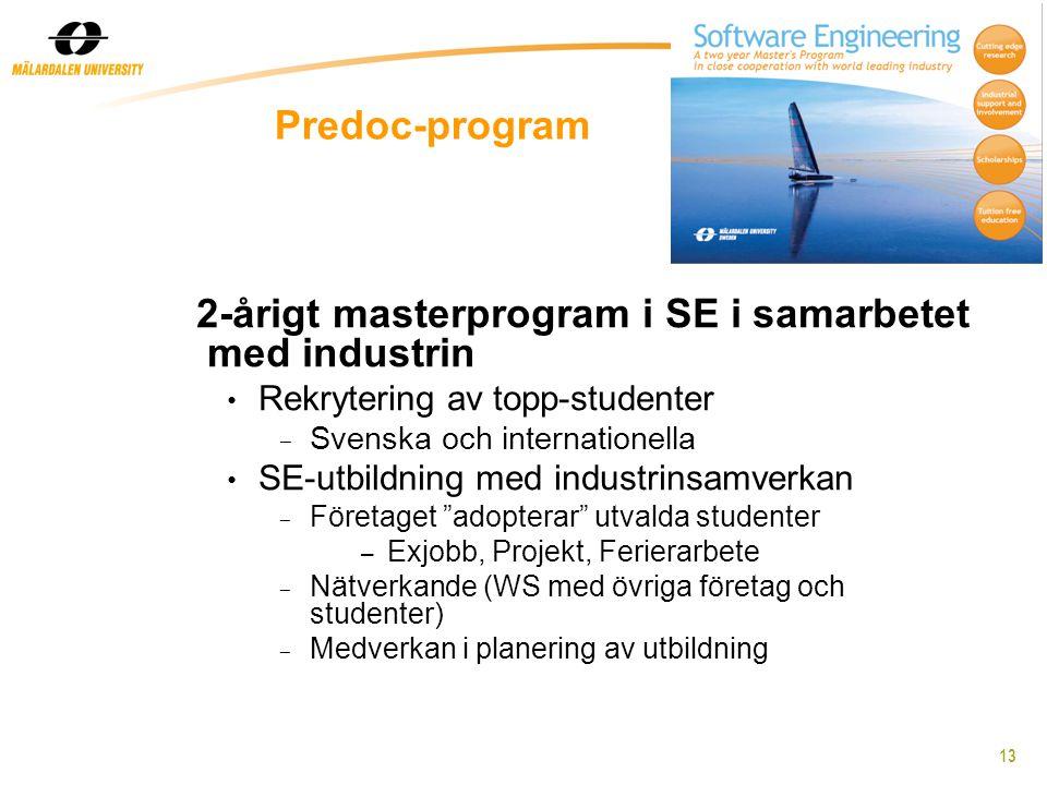 13 Predoc-program 2-årigt masterprogram i SE i samarbetet med industrin Rekrytering av topp-studenter - Svenska och internationella SE-utbildning med industrinsamverkan - Företaget adopterar utvalda studenter – Exjobb, Projekt, Ferierarbete - Nätverkande (WS med övriga företag och studenter) - Medverkan i planering av utbildning