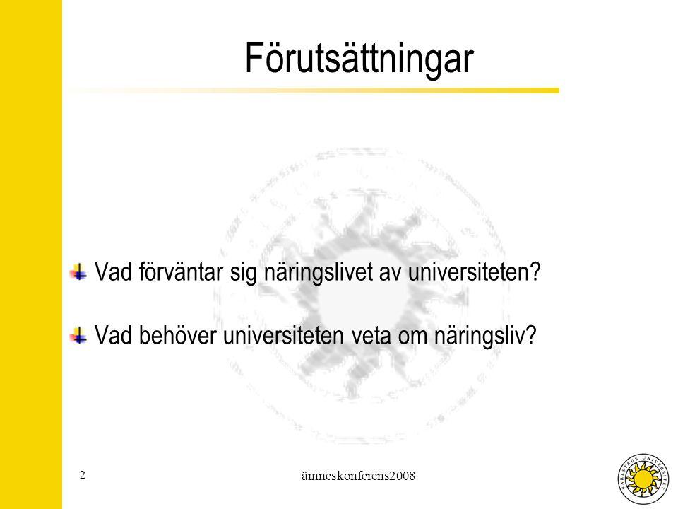 2 ämneskonferens2008 Förutsättningar Vad förväntar sig näringslivet av universiteten.