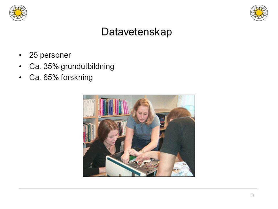 3 Datavetenskap 25 personer Ca. 35% grundutbildning Ca. 65% forskning