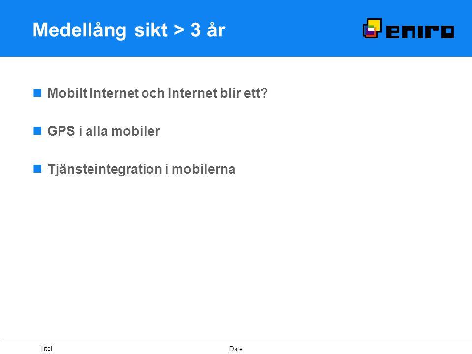 Titel Date Medellång sikt > 3 år Mobilt Internet och Internet blir ett? GPS i alla mobiler Tjänsteintegration i mobilerna