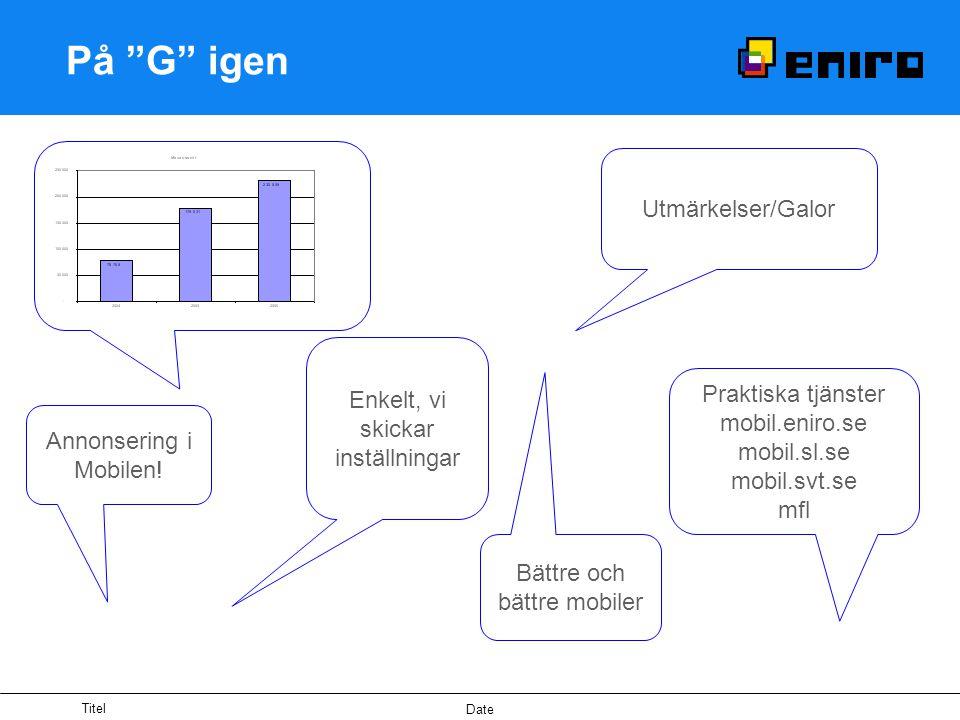 Titel Date På G igen Utmärkelser/Galor Enkelt, vi skickar inställningar Praktiska tjänster mobil.eniro.se mobil.sl.se mobil.svt.se mfl Annonsering i Mobilen.