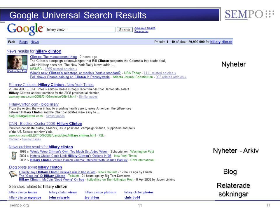 11sempo.org 11 Google Universal Search Results Nyheter Relaterade sökningar Nyheter - Arkiv Blog