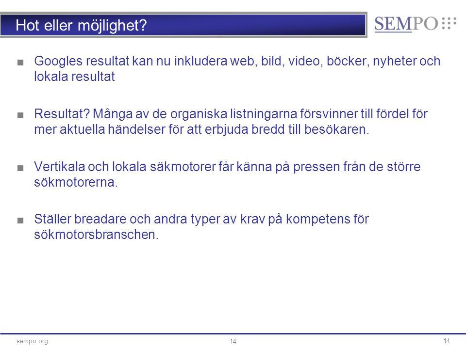 14sempo.org 14 Hot eller möjlighet? ■Googles resultat kan nu inkludera web, bild, video, böcker, nyheter och lokala resultat ■Resultat? Många av de or