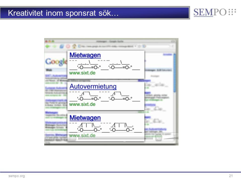 21sempo.org Kreativitet inom sponsrat sök…