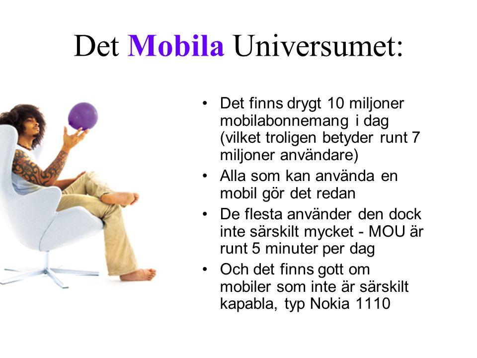 Det Mobila Universumet: Det finns drygt 10 miljoner mobilabonnemang i dag (vilket troligen betyder runt 7 miljoner användare) Alla som kan använda en mobil gör det redan De flesta använder den dock inte särskilt mycket - MOU är runt 5 minuter per dag Och det finns gott om mobiler som inte är särskilt kapabla, typ Nokia 1110