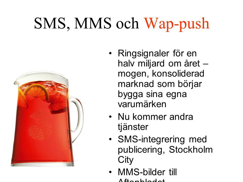 SMS, MMS och Wap-push Ringsignaler för en halv miljard om året – mogen, konsoliderad marknad som börjar bygga sina egna varumärken Nu kommer andra tjänster SMS-integrering med publicering, Stockholm City MMS-bilder till Aftonbladet Ericssons IPX