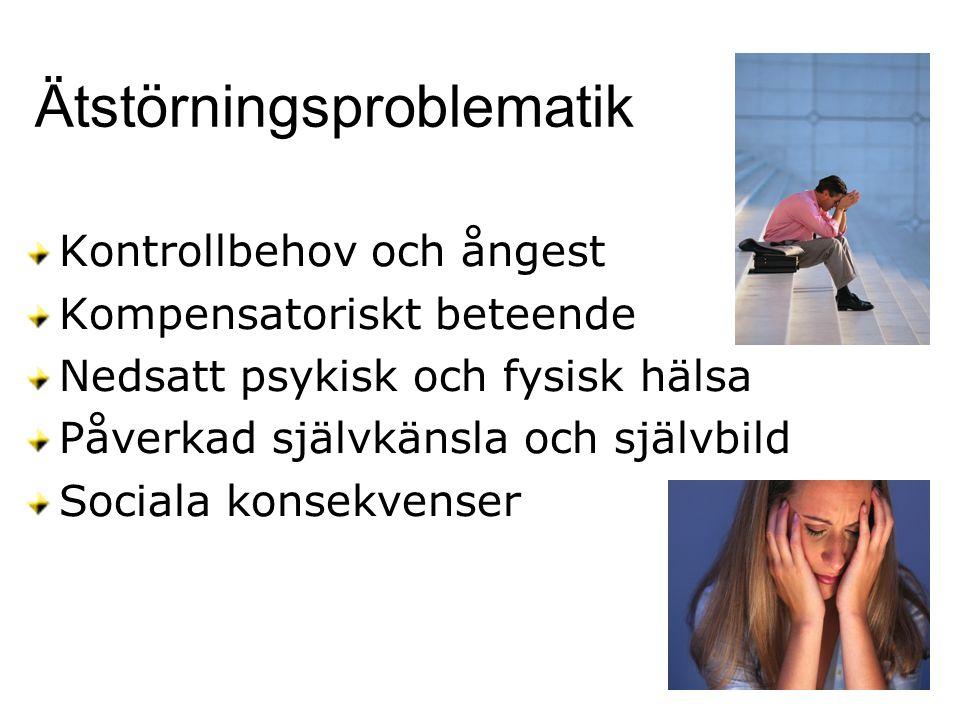 Ätstörningsproblematik Kontrollbehov och ångest Kompensatoriskt beteende Nedsatt psykisk och fysisk hälsa Påverkad självkänsla och självbild Sociala k