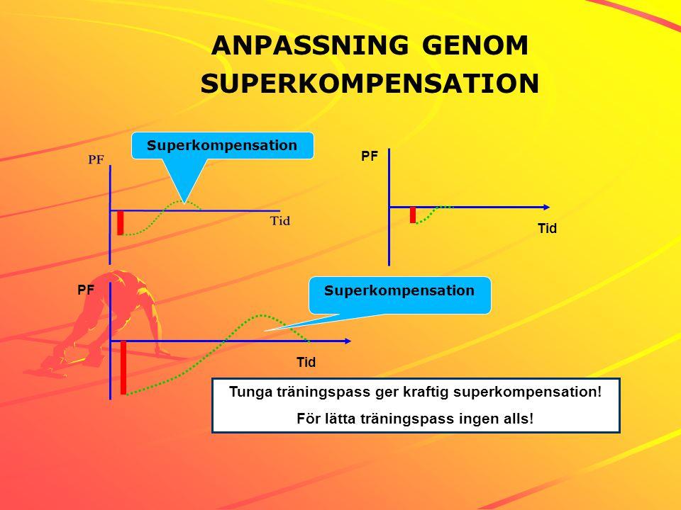 ANPASSNING GENOM SUPERKOMPENSATION Tunga träningspass ger kraftig superkompensation! För lätta träningspass ingen alls! PF Tid PF Tid Superkompensatio