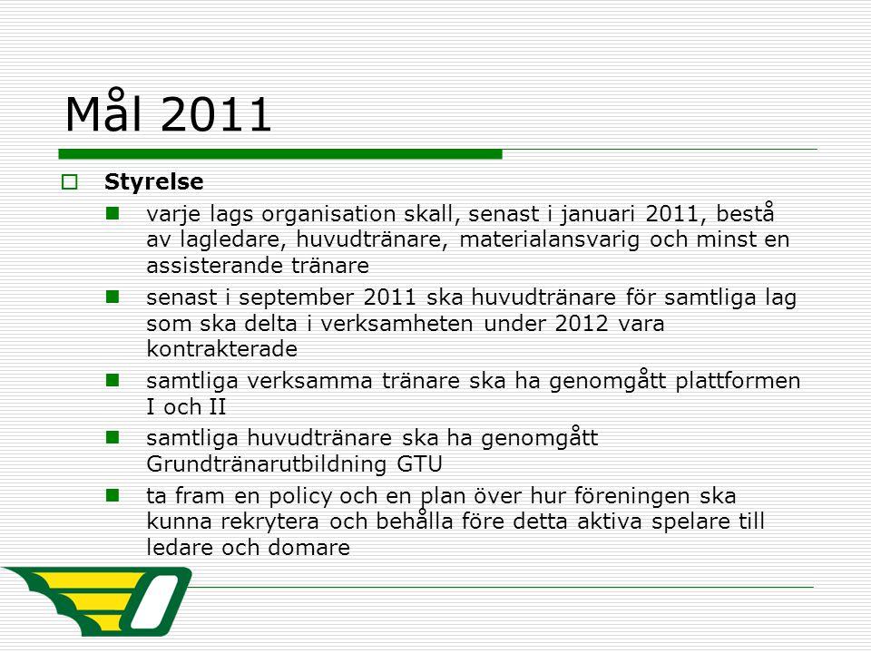 Mål 2011  Styrelse varje lags organisation skall, senast i januari 2011, bestå av lagledare, huvudtränare, materialansvarig och minst en assisterande