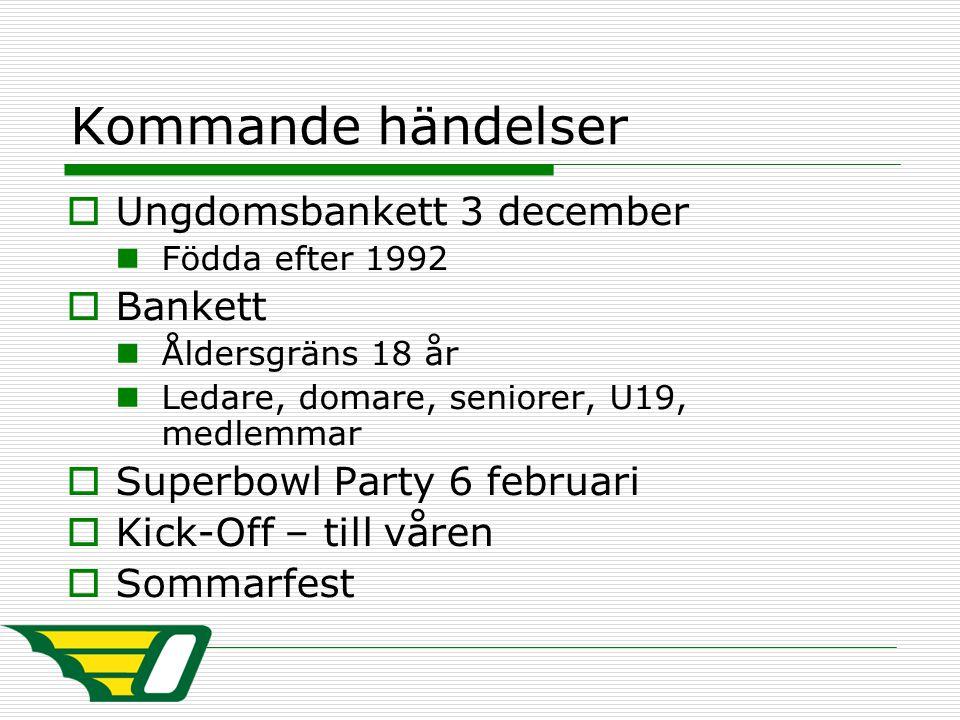 Kommande händelser  Ungdomsbankett 3 december Födda efter 1992  Bankett Åldersgräns 18 år Ledare, domare, seniorer, U19, medlemmar  Superbowl Party 6 februari  Kick-Off – till våren  Sommarfest