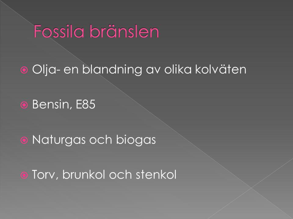  Olja- en blandning av olika kolväten  Bensin, E85  Naturgas och biogas  Torv, brunkol och stenkol