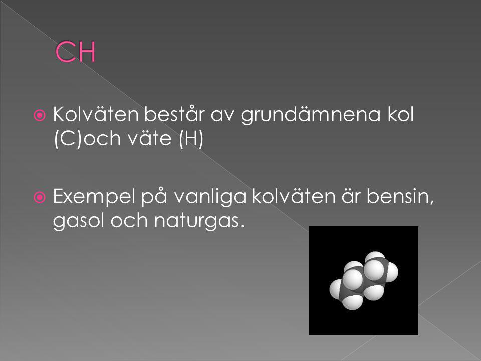  Kolväten består av grundämnena kol (C)och väte (H)  Exempel på vanliga kolväten är bensin, gasol och naturgas.