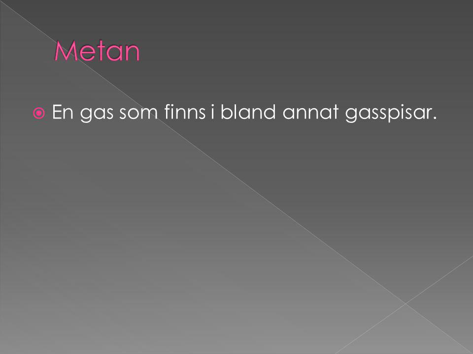  En gas som finns i bland annat gasspisar.