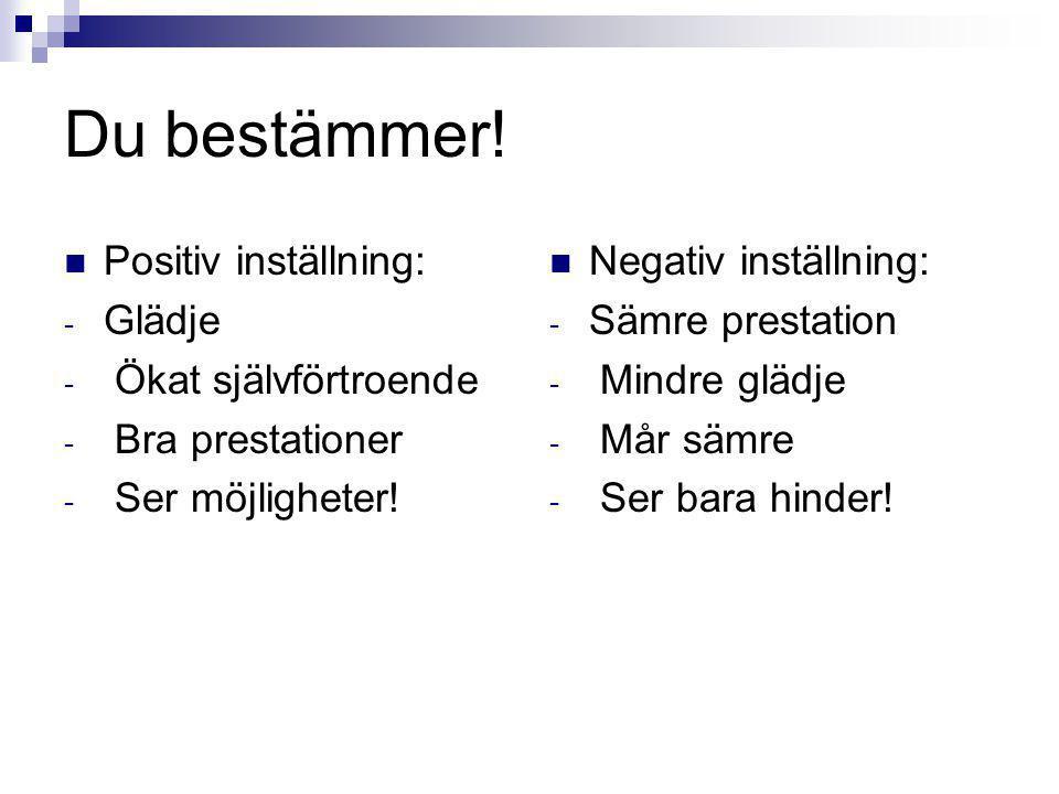 Du bestämmer! Positiv inställning: - Glädje - Ökat självförtroende - Bra prestationer - Ser möjligheter! Negativ inställning: - Sämre prestation - Min