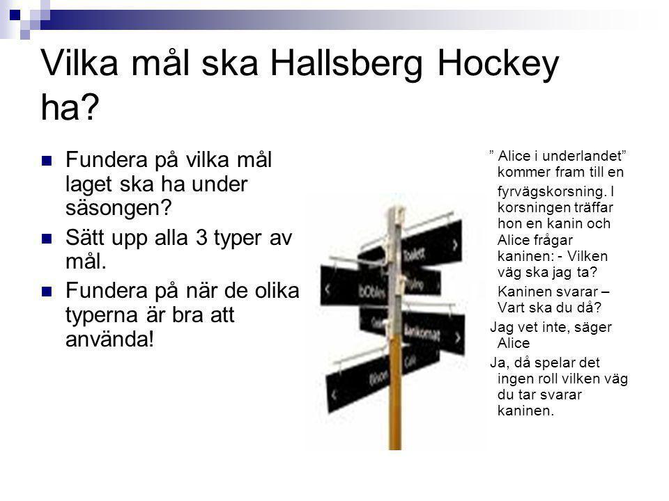 Vilka mål ska Hallsberg Hockey ha? Fundera på vilka mål laget ska ha under säsongen? Sätt upp alla 3 typer av mål. Fundera på när de olika typerna är