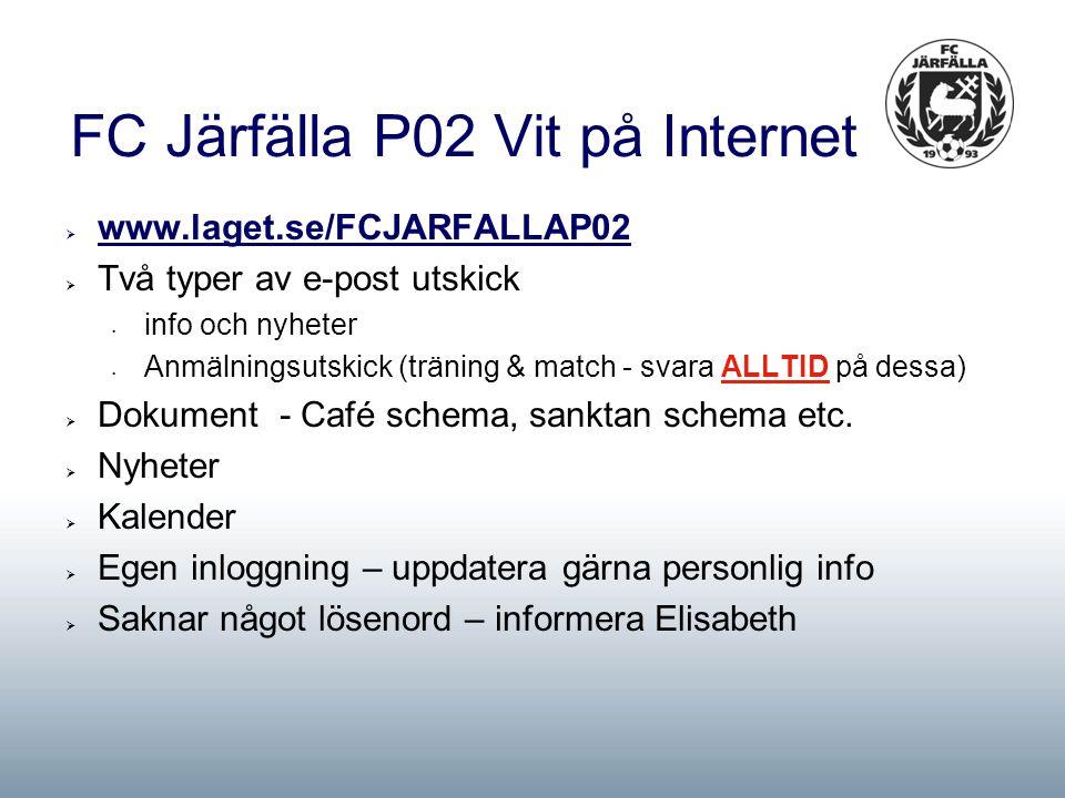 FC Järfälla P02 Vit på Internet  www.laget.se/FCJARFALLAP02  Två typer av e-post utskick info och nyheter Anmälningsutskick (träning & match - svara ALLTID på dessa)  Dokument - Café schema, sanktan schema etc.