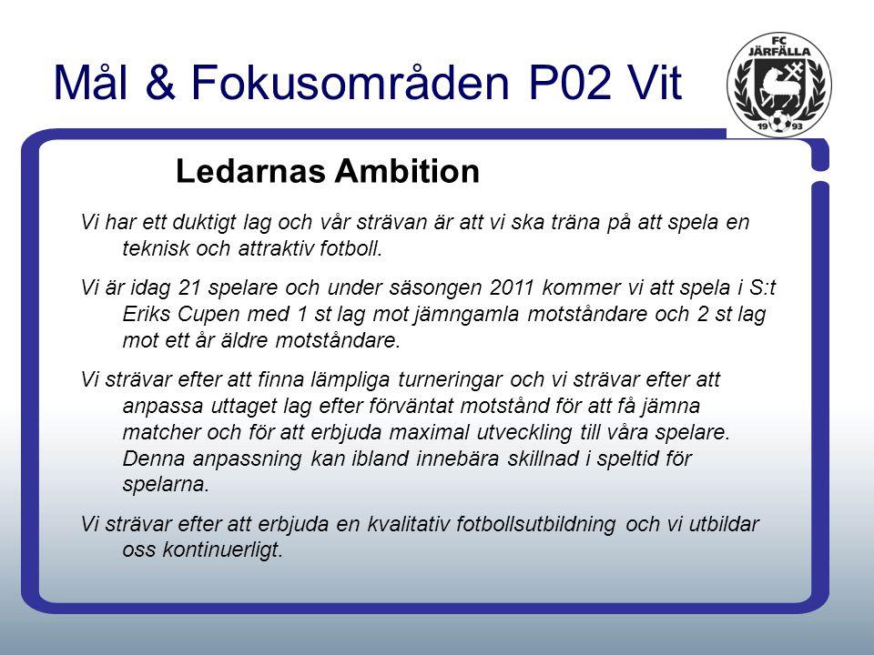 Mål & Fokusområden P02 Vit Ledarnas Ambition Vi har ett duktigt lag och vår strävan är att vi ska träna på att spela en teknisk och attraktiv fotboll.