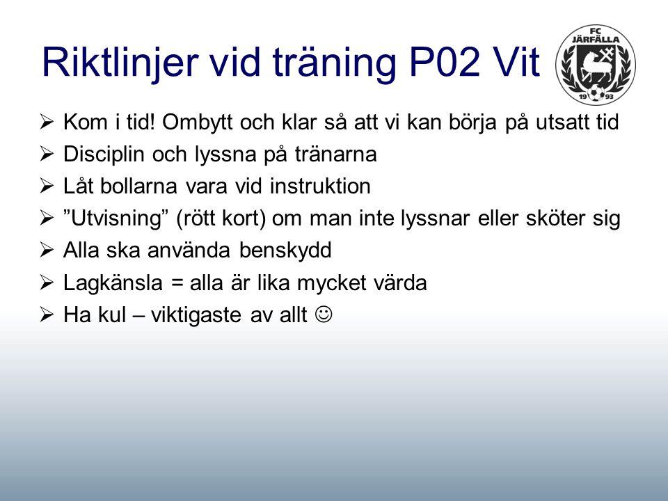 Riktlinjer vid träning P02 Vit  Kom i tid.