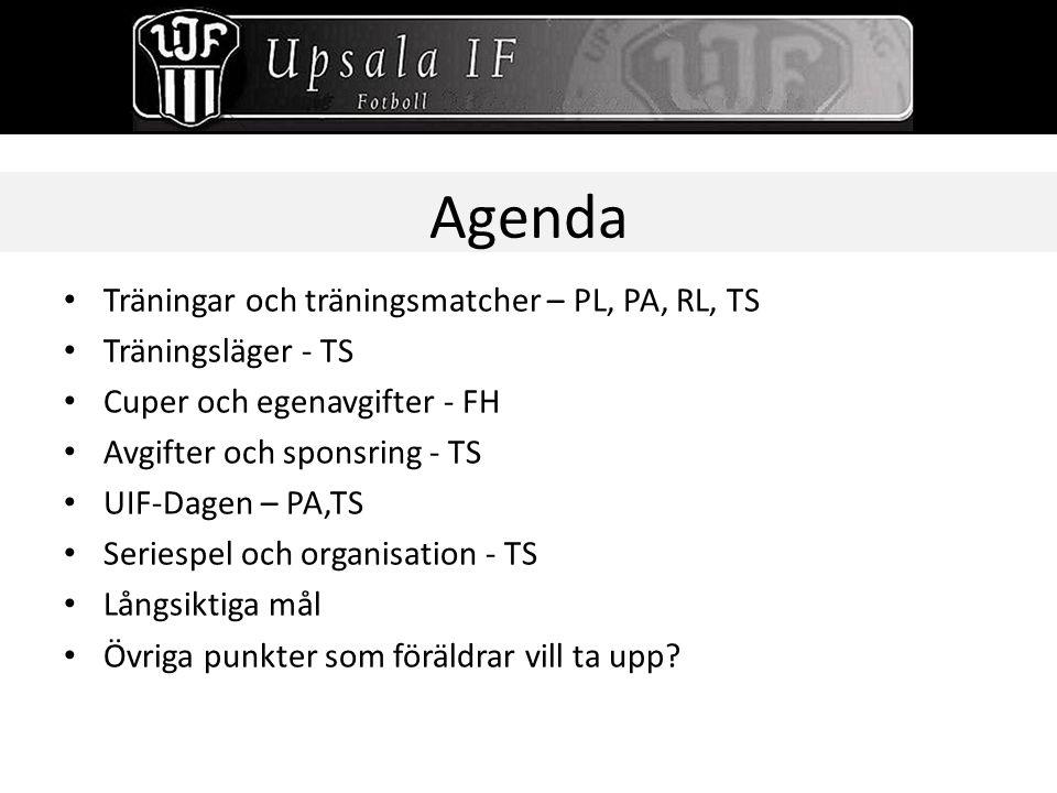 Agenda Träningar och träningsmatcher – PL, PA, RL, TS Träningsläger - TS Cuper och egenavgifter - FH Avgifter och sponsring - TS UIF-Dagen – PA,TS Ser