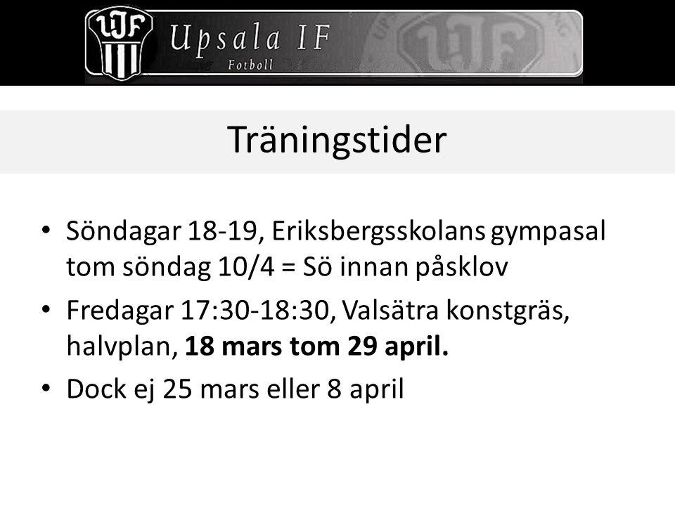 Träningstider Söndagar 18-19, Eriksbergsskolans gympasal tom söndag 10/4 = Sö innan påsklov Fredagar 17:30-18:30, Valsätra konstgräs, halvplan, 18 mar