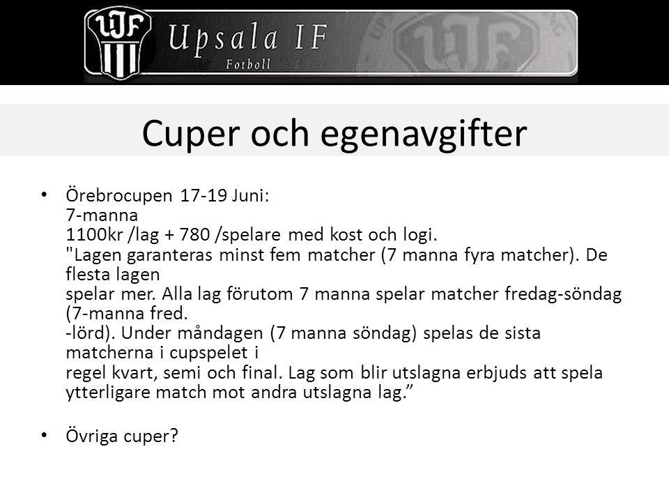 Cuper och egenavgifter Örebrocupen 17-19 Juni: 7-manna 1100kr /lag + 780 /spelare med kost och logi.