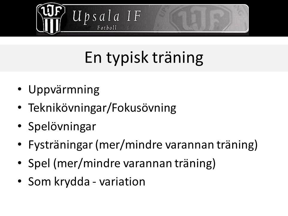 En typisk träning Uppvärmning Teknikövningar/Fokusövning Spelövningar Fysträningar (mer/mindre varannan träning) Spel (mer/mindre varannan träning) So