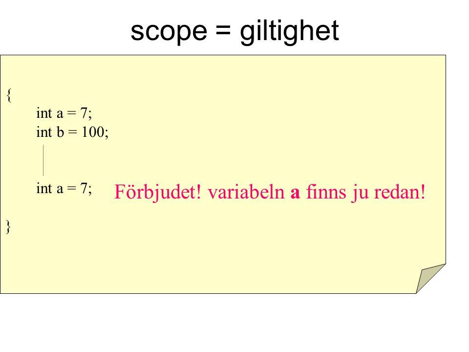 scope = giltighet { int a = 7; int b = 100; int a = 7; } Förbjudet! variabeln a finns ju redan!