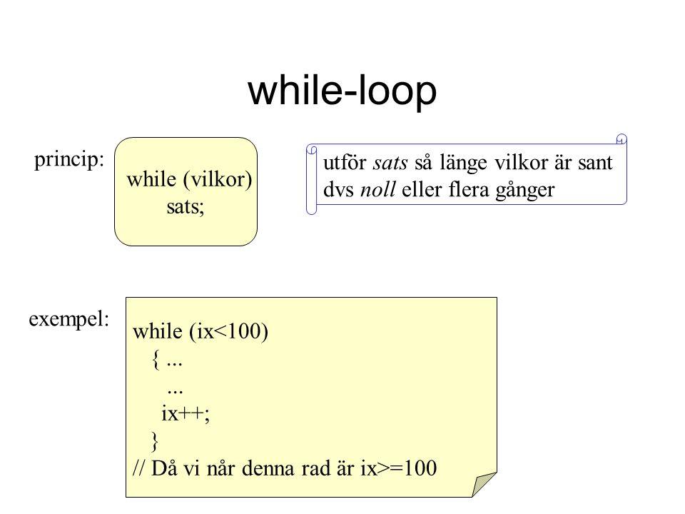while-loop while (vilkor) sats; princip: utför sats så länge vilkor är sant dvs noll eller flera gånger exempel: while (ix<100) {...... ix++; } // Då