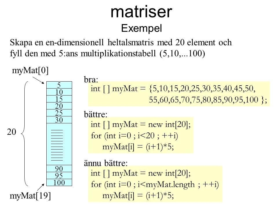 matriser Exempel myMat[0] myMat[19] Skapa en en-dimensionell heltalsmatris med 20 element och fyll den med 5:ans multiplikationstabell (5,10,...100) 5