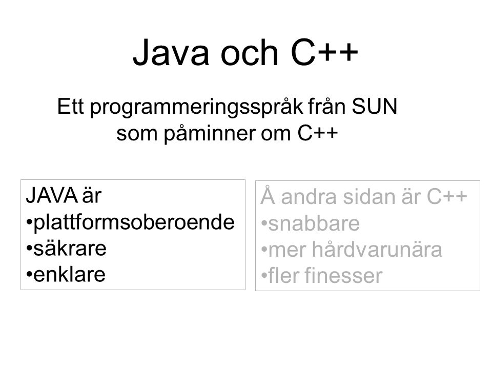 Ett enkelt program class MyProg { public static void main(String[] args) { System.out.println( Hello, world ); }  javac MyProg.java  java MyProg Hello, world  MyProg.java Ett program består normalt av många klasser En klass/fil Klassnamn = filnamn Exakt en main-funktion Skillnad på versaler och gemener