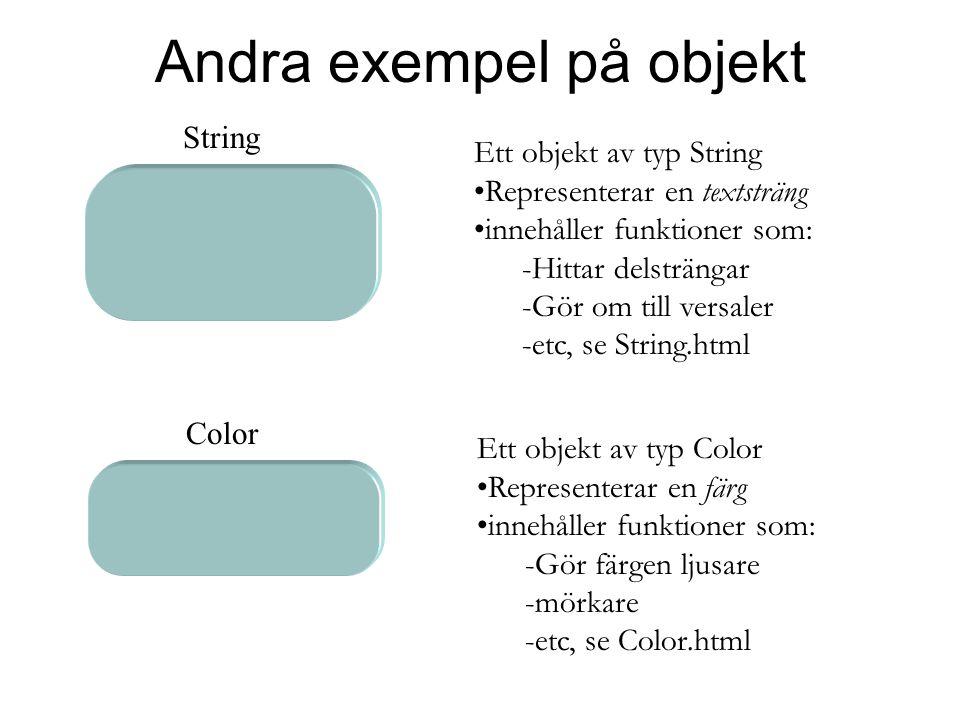 Andra exempel på objekt Ett objekt av typ String Representerar en textsträng innehåller funktioner som: -Hittar delsträngar -Gör om till versaler -etc