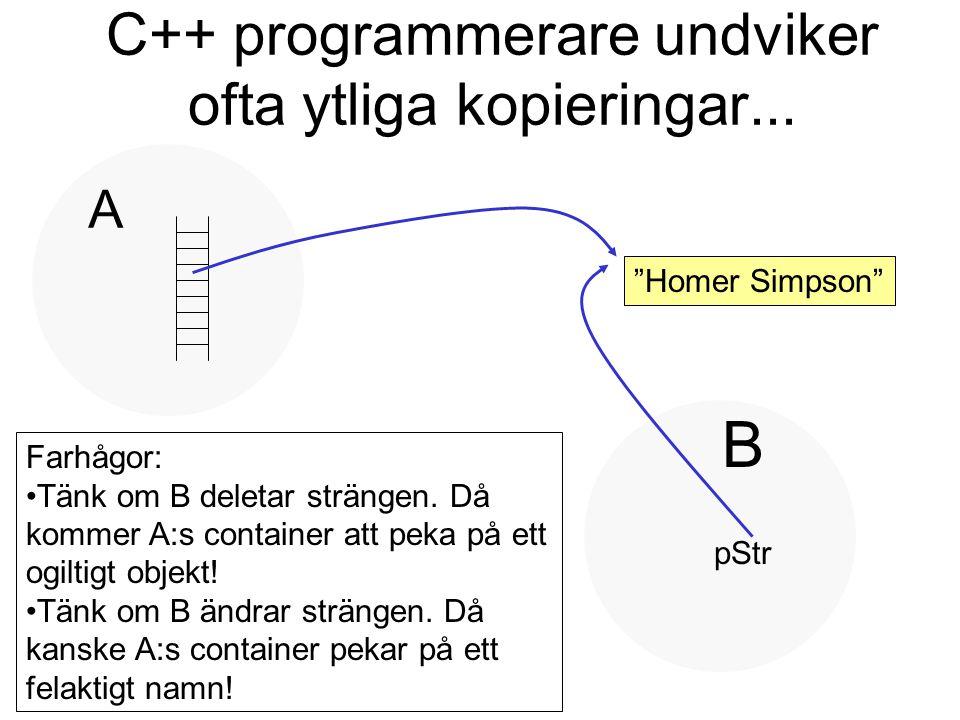 """C++ programmerare undviker ofta ytliga kopieringar... """"Homer Simpson"""" A B pStr Farhågor: Tänk om B deletar strängen. Då kommer A:s container att peka"""