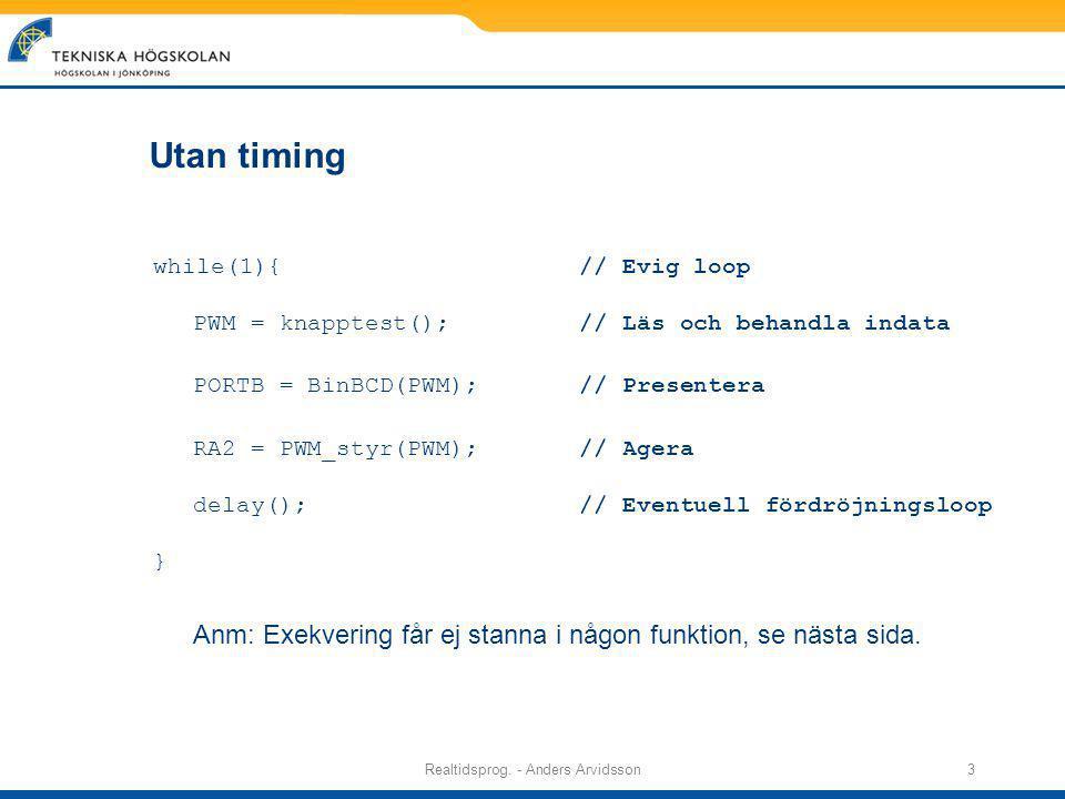 Realtidsprog.- Anders Arvidsson4 Kodstruktur Vilken kod fungerar i realtid.