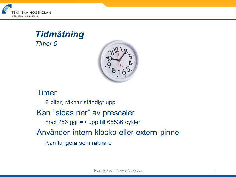Realtidsprog. - Anders Arvidsson8 Timer Se option_reg (skriv bara option, i C) för konfigurering.