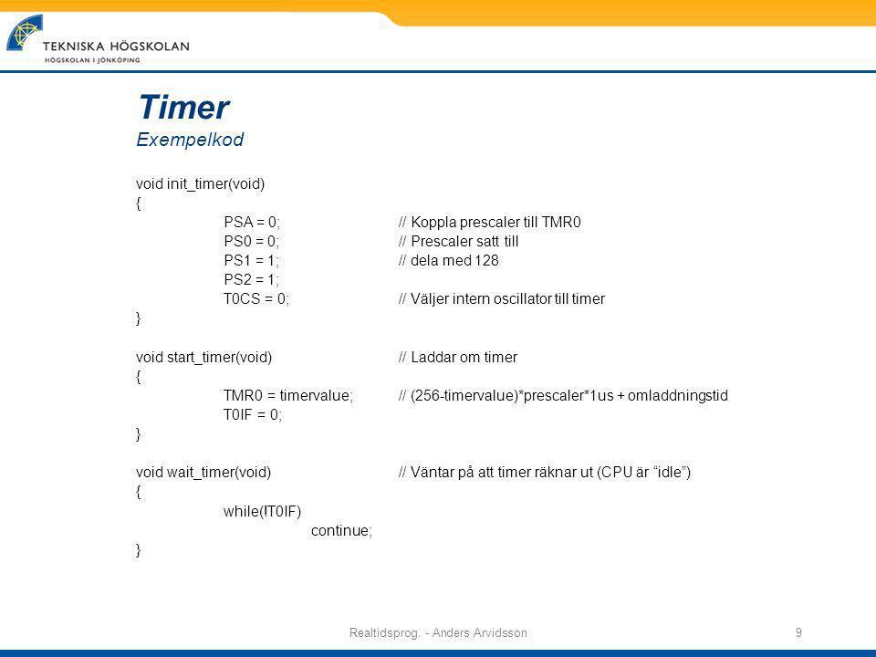 Realtidsprog.- Anders Arvidsson10 Med timing, funktioner med lång exekv.