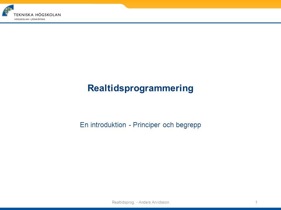 Realtidsprog. - Anders Arvidsson1 Realtidsprogrammering En introduktion - Principer och begrepp